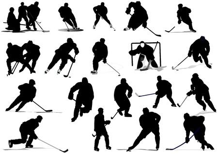 hockey rink: Jugadores de hockey sobre hielo. Color ilustraci�n vectorial para dise�adores