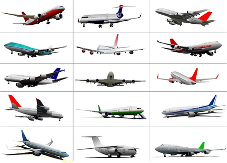 airplane mode: Big set of passenger planes. Taking off. Landing. On the air field. Vector illustration