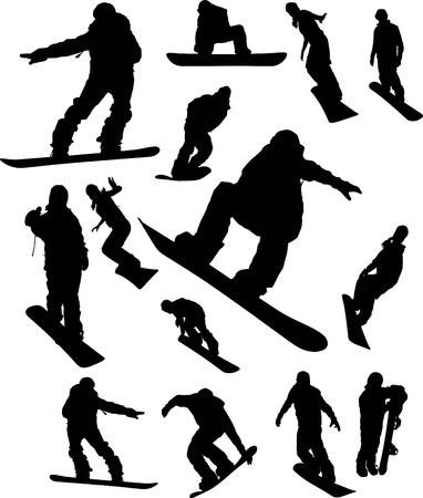 Silhouette homme Snowboarder fixés pour l'utilisation de conception