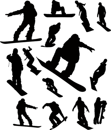 snowboarder jumping: Snowboarder man silhouette set for design use