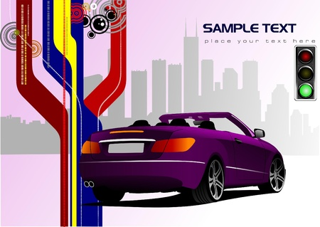 Abstract hi-tech background with purple cabriolet image. Vector Vector