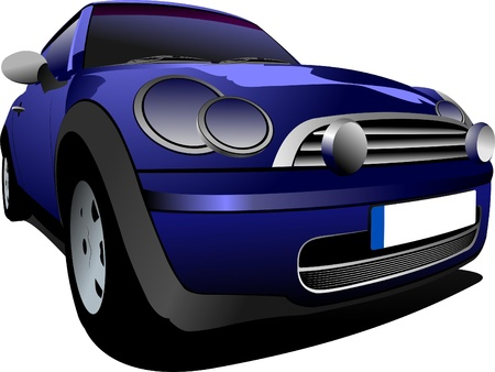 small car: Blue small car on the road. Vector illustration