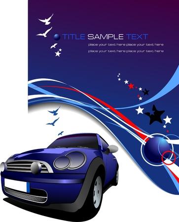 shiny car: Blue background with blue car, stars and blue birds images . Vector illustration Illustration
