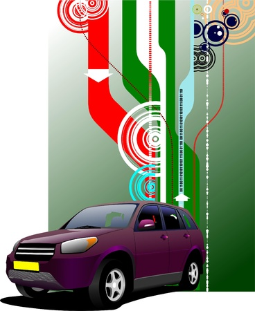 Cover for brochure with purple mini-van on the road. Vector illustration Stock Vector - 9551883