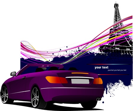 Purple cabriolet  car with Paris Eiffel tower image background. Vector illustration Vector