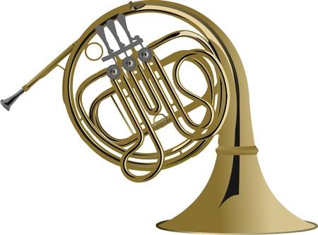 cuernos: Serie de instrumentos de m�sica. Ilustraci�n vectorial de una trompa.