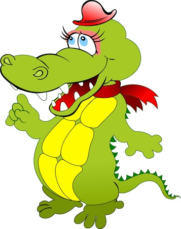 reptile: Funny green cartoon crocodile with red hat. Vector illustration