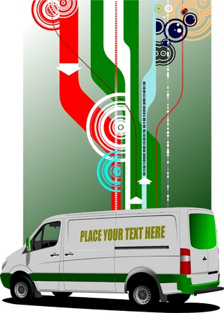 Cover for brochure with  commercial cargo mini van  image Stock Vector - 9551880