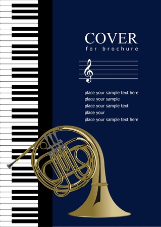 french horn: Cover for brochure with Piano and French horn images. Vector illustration;