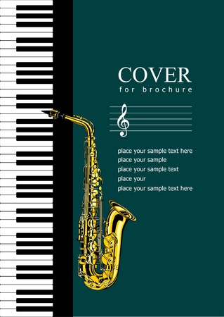 Cover for brochure with Piano and saxophone. Vector illustration Vector