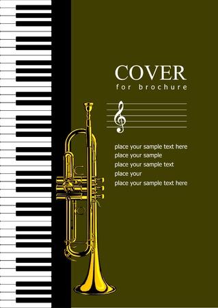 trompeta: Cobertura de folleto con im�genes de Piano y trompeta. Ilustraci�n vectorial Vectores
