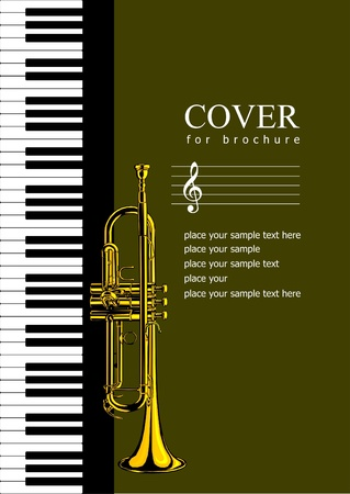 trumpet: Cover for brochure with Piano and trumpet images. Vector illustration