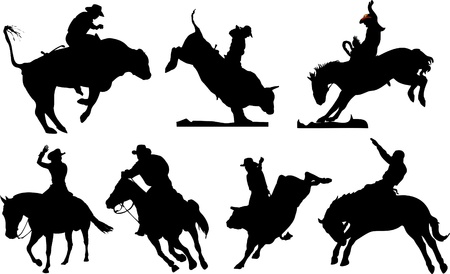 bucking horse: Seven rodeo silhouettes. Black and white Vector illustration