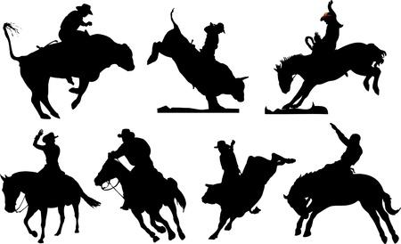 rodeo americano: Siete siluetas de rodeo. Ilustraci�n vectorial de blanco y negro Vectores