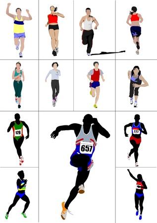 bilinçli: The running men and women. Vector illustration Çizim