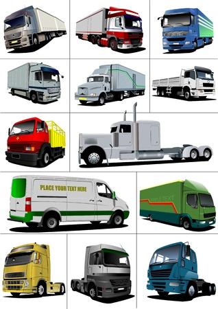diesel engine: Big set of Vector illustration of trucks. Lorry.