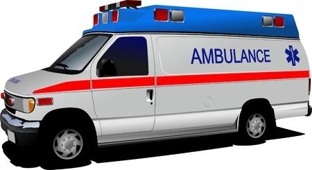 Moderne ambulance van over wit. Gekleurde vectorillustratie