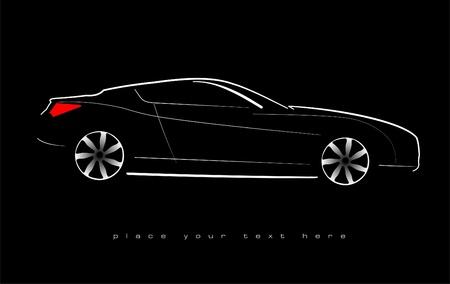 White silhouette of car sedan on black background. Vector illustration Vector