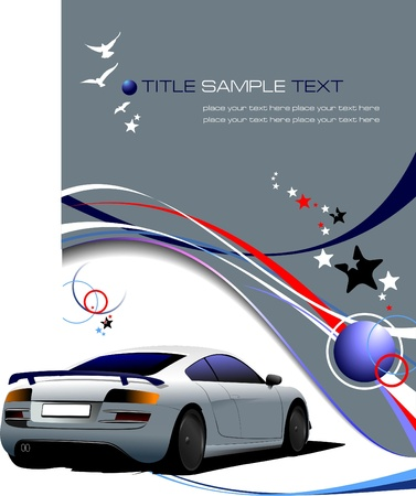 blank poster: Blue-gray business background with sport car image. Vector illustration