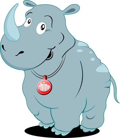 Cute Rhino Vector Illustration Stock Vector - 9551563
