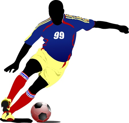 jugadores de soccer: Jugadores de f�tbol. Color ilustraci�n vectorial para dise�adores Vectores