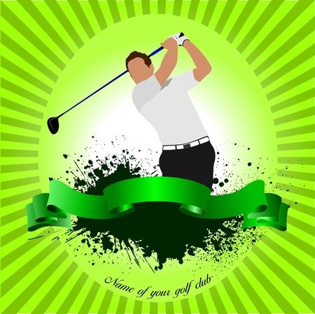 Golfer hitting ball with iron club. Vector illustration Vector