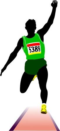 caida libre: Atletismo. El salto de longitud. Sport. Ilustración vectorial