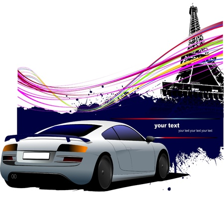 Blue-gray  car with Paris Eiffel tower image background. Vector illustration Vector