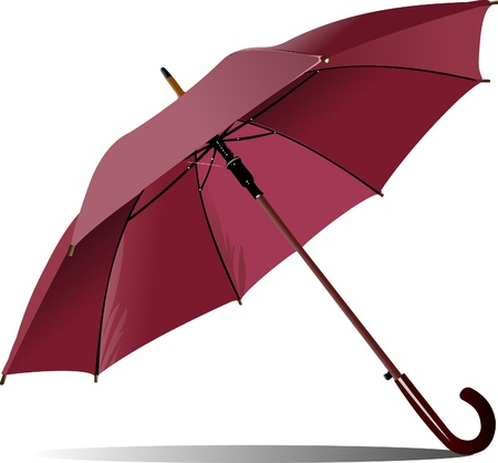 opened: Opened pink rain umbrella. Vector illustration
