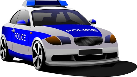 municipal: Police car. Municipal transport. Colored vector illustration.