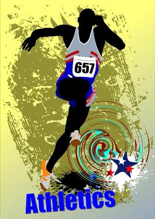 Poster Athletics. The running people. Sport. Running. Vector illustration Vector