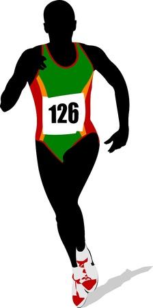 The running people. Vector illustration Vector