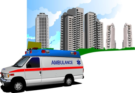 Dormitory and ambulance. Vector illustration Stock Vector - 9552095