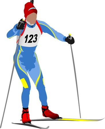 move gun: Biathlon runner colored silhouettes. Vector illustration Illustration
