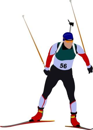 Cover for winter sport brochure with biathlon runner image. Vector illustration Vector