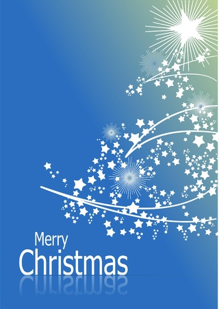 Blue abstract Christmas background with white snowflakes Vector
