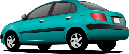 purple car: Green colored car sedan on the road. Vector illustration