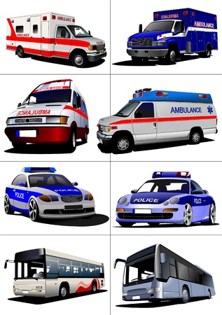 скорая помощь: Set of municipal transport images. Vector illustration