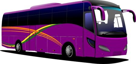 conductor autobus: Autob�s p�rpura. Entrenador de turismo. Ilustraci�n vectorial para dise�adores