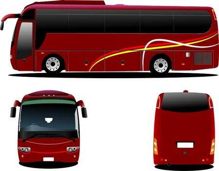 Autobús rojo. Entrenador de turismo. Trasero, frente, perfil. Ilustración vectorial para diseñadores
