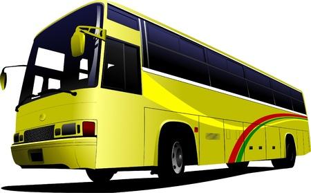 coach: City yellow bus. Tourist coach. Vector illustration for designers Illustration