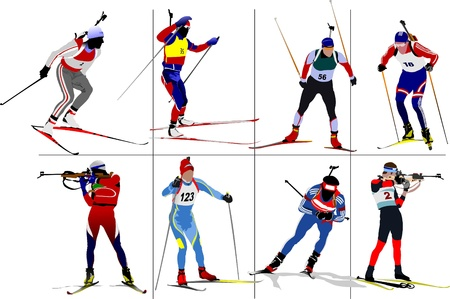 top gun: Eight biathlon runners. Colored Vector illustration