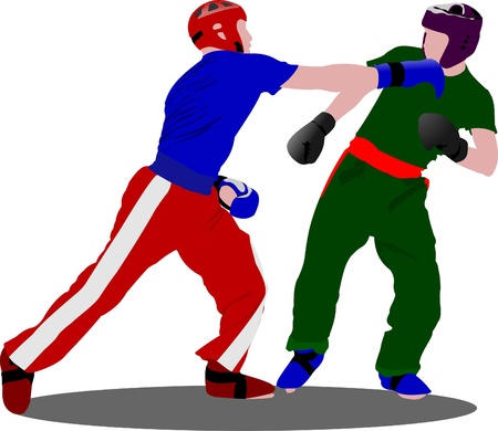 male boxer: Kickboxing. The sportsman in a position. Oriental combat sports. Illustration
