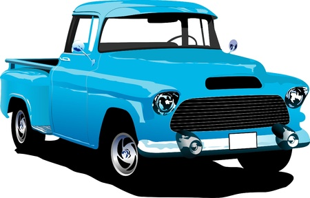 pickup: Old blue pickup with badges removed. Vector illustration