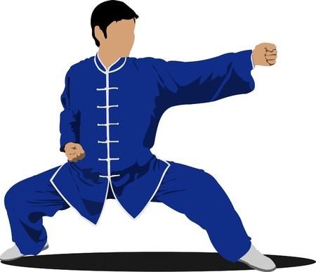 wushu: Wushu. KongFu.The sportsman in a position. Oriental combat sports. Illustration