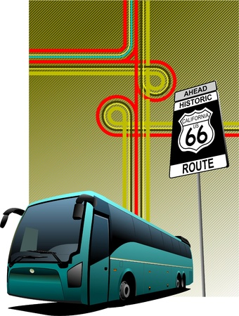 excursion: Cover for brochure with junction and bus image.  Illustration