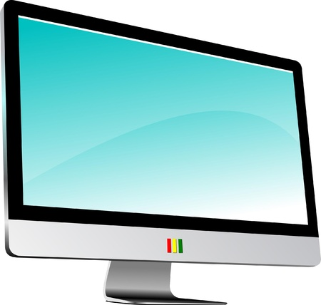 computer isolated: Flat computer monitor.