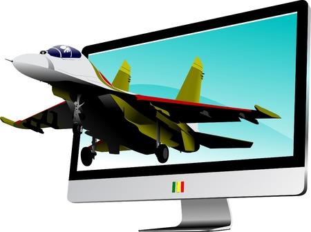 fighter pilot: Combattimento iniziato dal monitor del computer piatta. Visualizzazione.