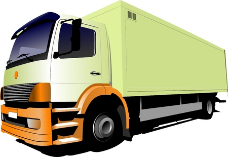 light yellow small truck Vector