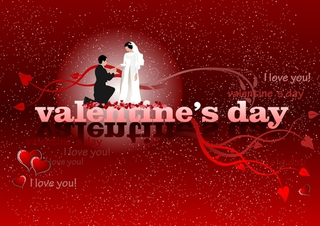 Valentine`s Day red background with bride and groom. 14 February. vector illustration illustration